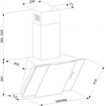 Вытяжка ELEYUS Vesta A 1000 LED SMD 60 S BL